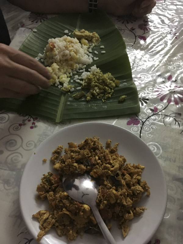Fine Dining from a Banana Leaf at Mayookam Serviced Villas, Munroe Island, Kerala, India