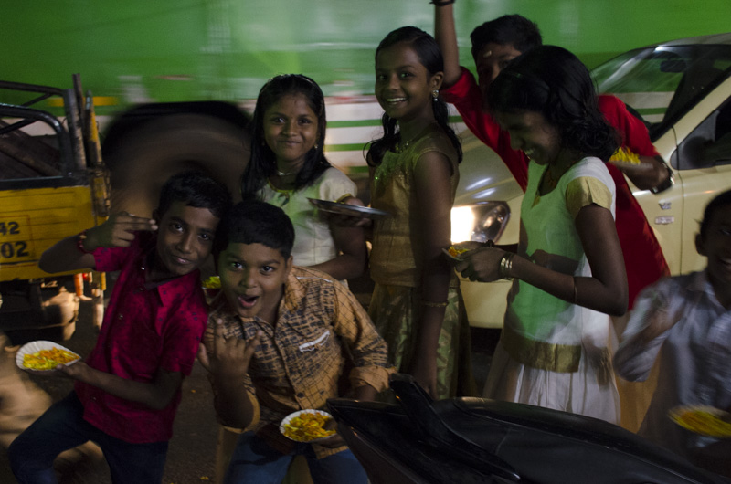 Kids in the Hindu festival procession
