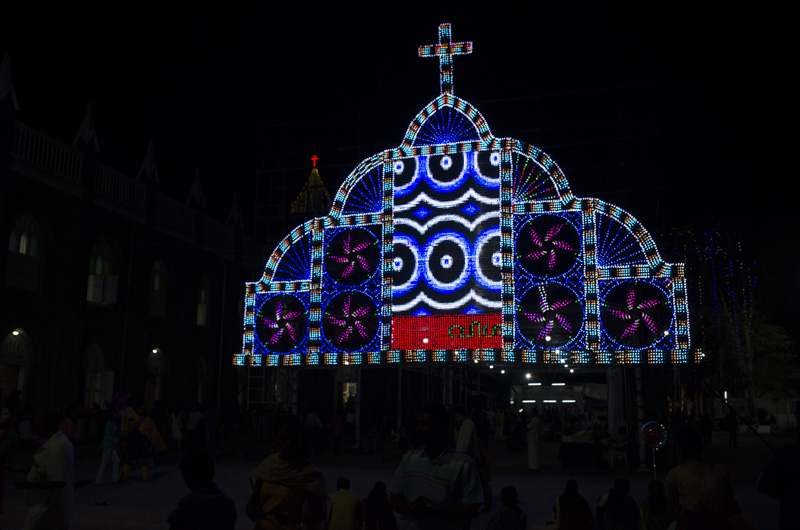Saint Andrews Basilica LED Display, Festival of Saint Sebastian, Kerala, India