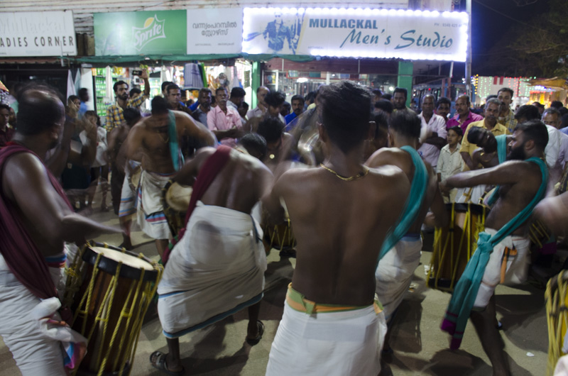 Drummers on street corner, Arthunkal, India, Festival of Saint Sebastian