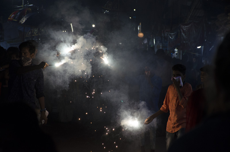 Sparklers and Smoke in Festival of Saint Sebastian, Artunkal, Kerala, India
