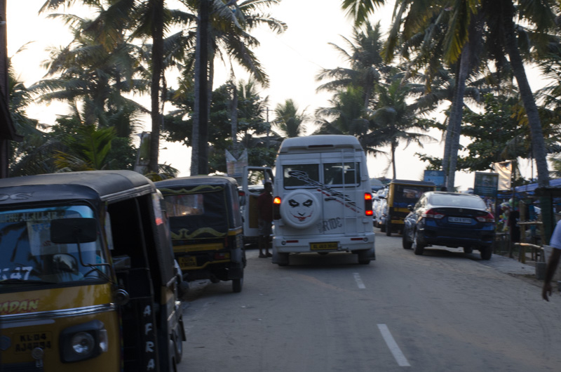 Marari Beach, Kerala, India Weekday Evening Traffic