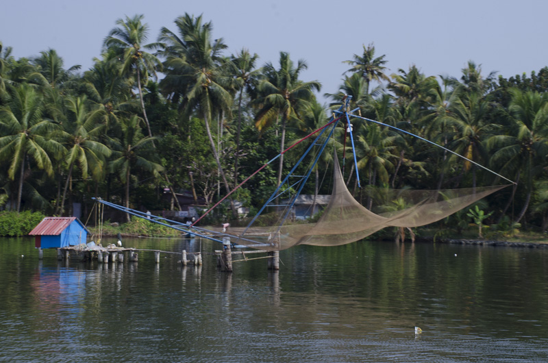 Chinese Fishing Net on canal south to Kollam