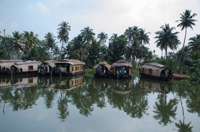 Houseboats along canal going south from Alleppey