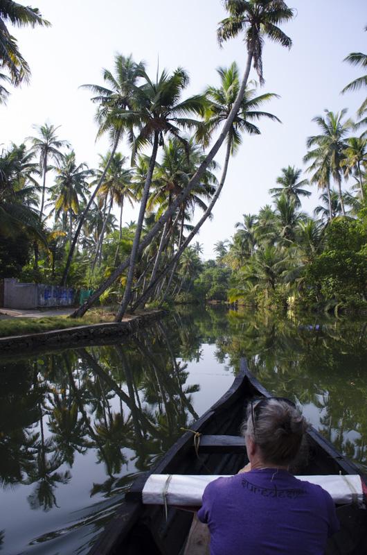 Sue on the canoe tour of Munroe Island, Kerala, India