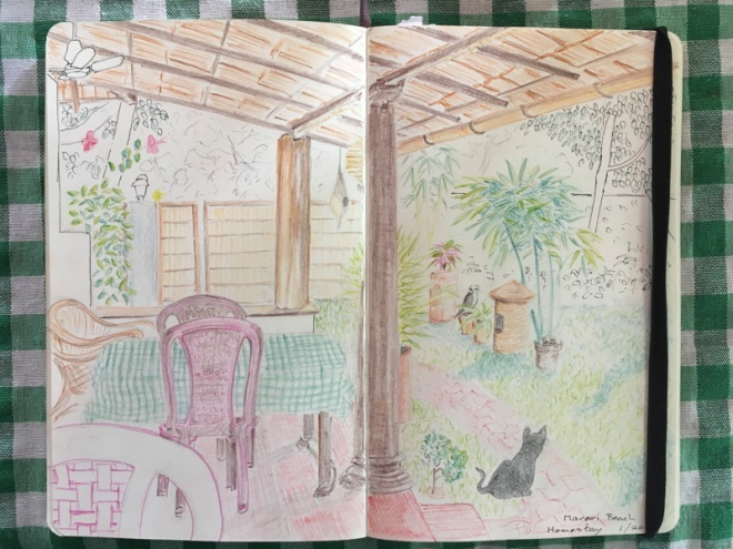 sketchbook with a drawing of our Marari Beach Homestay