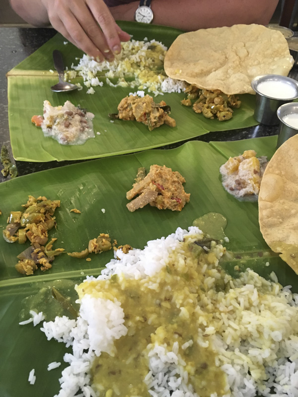thali lunch at Ariya Niwas, Trivandrum, India