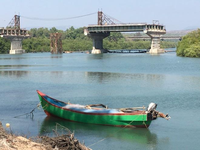 Unfinished Bridge over Galgabag River, Goa, India