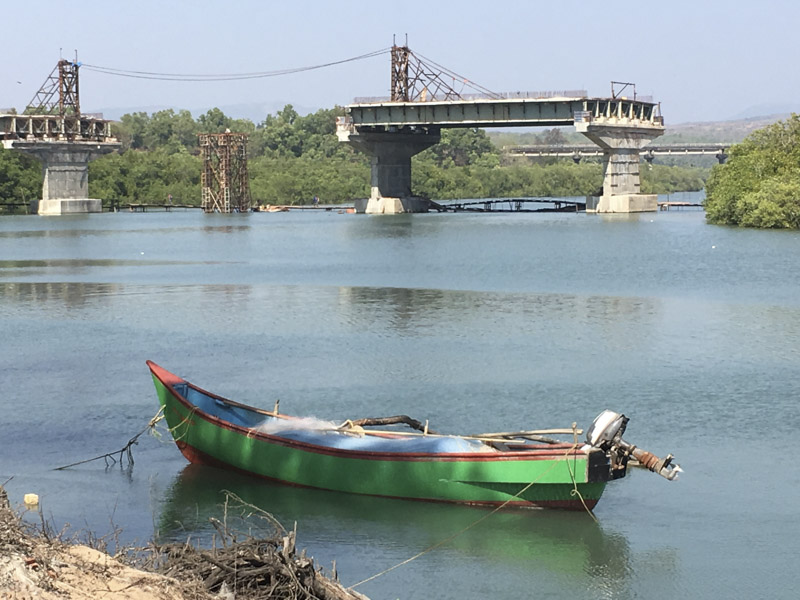 Unfinished Bridge over Galgabag River, Goa, India