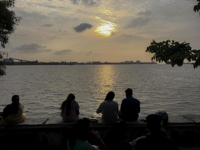Sunset Over Kochi from waterfront Ernakulam, India