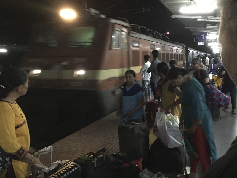 on the platform of Ernakulam Junction as train arrives