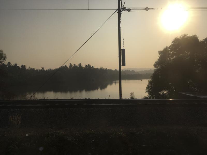 sunrise from India Railways train window