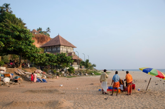 view south on Papanasam Beach, Varkala, India