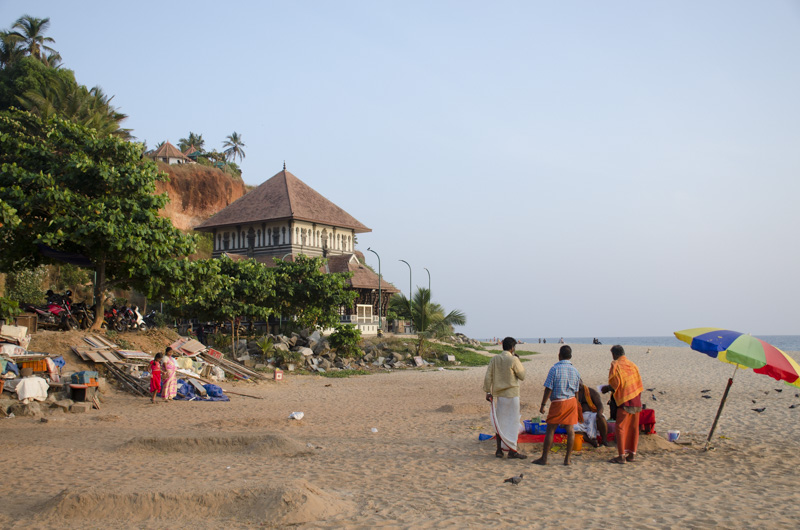view south on Papanasam Beach, Varkala, India