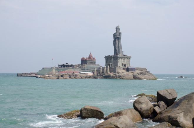 Thiruvalluvar Statue with Vivekananda Rock Memorial in the background
