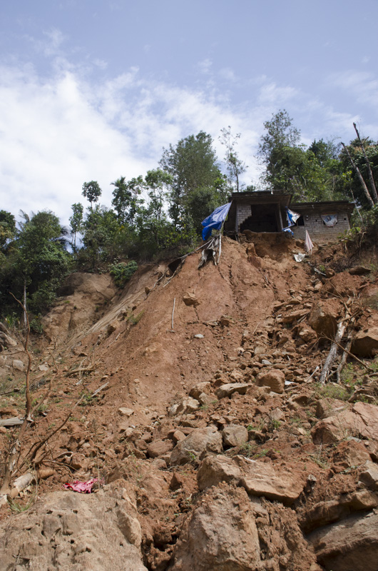 Landslide in a Village on the highway from Kumily to Munnar, India