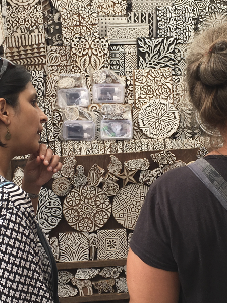 shopping for printing wood blocks on Colaba Causeway, Mumbai