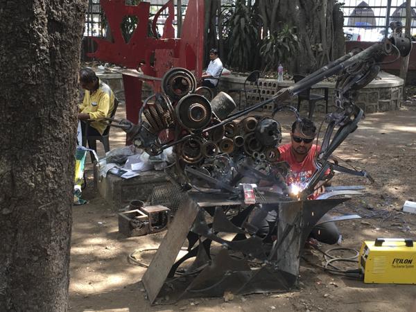 sculpture welding at the Multi-Medium National Art Camp