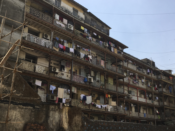 Laundry hung out to dry in the Fort district, Mumbai