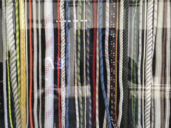 Window display of colourful ropes