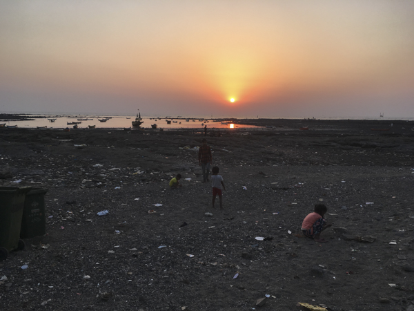 sunset on the West Bandra Waterfront