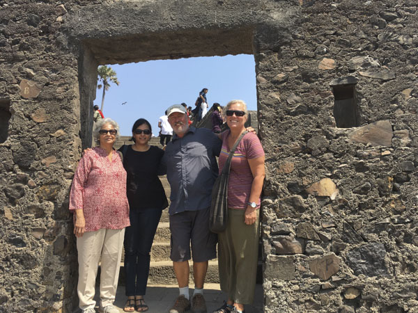 Posing in arch at Bandra Fort, Mumbia, India