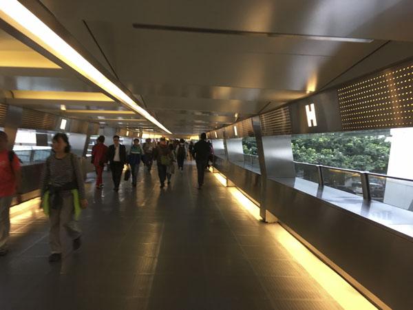 elevated walkway in downtown Hong Kong