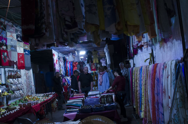view from back of shop in Temple Street Night Market